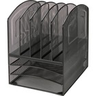 "Lorell Steel Mesh 3/5 Tray Desktop Organizer - 5 Compartment(s) - 13"" Height x 9.5"" Width x 11.4"" Depth - Black - Steel - 1Each"