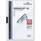 "DURABLE Duraclip Report Covers - Letter - 8 1/2"" x 11"" Sheet Size - 30 Sheet Capacity - Vinyl - White - 1 / Each"