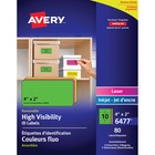 "Avery® Multipurpose Label - Removable Adhesive - 2"" Width x 4"" Length - Rectangle - Laser, Inkjet - Neon Blue, Neon Green, Neon Magenta, Neon Yellow - 10 / Sheet - 1 Pack"