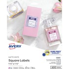 """Avery® Easy Peel Square Labels, Sure Feed 1-1/2"""" x 1-1/2"""" , 600 Labels (22805) - 1 1/2"""" Height x 1 1/2"""" Width - Square - Laser, Inkjet - White - Paper - 24 / Sheet - 600 Total Label(s) - 600 / Pack"""
