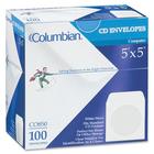 """Columbian CD/DVD Window Envelopes - CD/DVD - 5"""" Width x 5"""" Length - 24 lb - Gummed - Wove - 100 / Box - White"""
