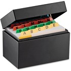 """Steelmaster Heavy-duty Steel Card File Box - External Dimensions: 5.5"""" Width x 3.6"""" Depth x 3.2"""" Height - 400 x Index Card (3"""" x 5"""") - Hinged Closure - Steel - Black - For Index Card - Recycled - 1 Each"""