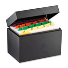 """Steelmaster Heavy-duty Steel Card File Box - External Dimensions: 6.6"""" Width x 4.1"""" Depth x 4.9"""" Height - 500 x Index Card (4"""" x 6"""") - Hinged Closure - Steel - Black - For Index Card - Recycled - 1 Each"""