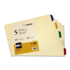 """VLB Tab Divider - 5 x Divider(s) - 5 Tab(s)2"""" Tab Width - 11"""" Divider Width x 17"""" Divider Length - 3 Hole Punched - White Polypropylene Divider - Red, Blue, Yellow, Green, Clear Tab(s) - 1 Pack"""