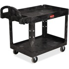 "Rubbermaid Heavy-duty Two-tiered Utility Cart - 2 Shelf - Push Handle Handle - 226.80 kg Capacity - 4 Casters - 5"" (127 mm) Caster Size - Resin, Foam, Polypropylene - 45.2"" Length x 25.9"" Width x 33.2"" Height - Black - 1 Each"