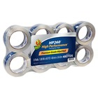 """Duck HP260 Packaging Tape - 8 Pack - 60 yd (54.9 m) Length x 1.88"""" (47.8 mm) Width - 3.10 mil (0.08 mm) Thickness - Heavy Duty - 8 / Pack - Crystal Clear"""
