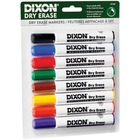 Dixon Wedge Tip Dry Erase Markers - Wedge Marker Point Style - No - Yellow, Red, Blue, Orange, Green, Violet, Brown, Black - White Barrel - 8 / Pack
