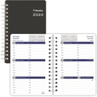 """Blueline Weekly Planner - Julian - Weekly - January 2017 till December 2017 - 7:00 AM to 6:00 PM - 5"""" x 8"""" - Twin Wire - Black - Soft Cover, Bilingual"""