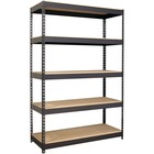 "Lorell Riveted Steel Shelving - 5 Compartment(s) - 72"" Height x 48"" Width x 18"" Depth - Recycled - Black - Steel - 1Each"