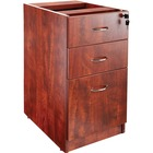 """Lorell Essentials Hanging Fixed Pedestal - 3-Drawer - 15.5"""" x 21.9"""" x 28.5"""" - 3 x Box Drawer(s), File Drawer(s) - Material: Polyvinyl Chloride (PVC) Edge, Metal Pull - Finish: Laminate, Cherry, Silver Pull"""