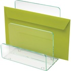 Lorell Acrylic Mini File Sorter - Desktop - Clear, Green - Acrylic - 1Each