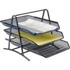 """Lorell Steel Mesh 3-Tier Mesh Desk Tray - 11"""" Height x 10.8"""" Width x 14.3"""" Depth - Black - Steel - 1Each"""