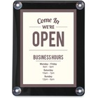 """Deflecto Window Display - 1 Each - Come in, we're open Print/Message - 8.50"""" (215.90 mm) Width x 11"""" (279.40 mm) Height - Rectangular Shape - UV Resistant, Heat Resistant, Double-sided - Clear"""