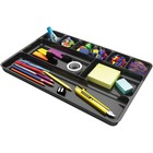 "Deflecto Sustainable Office Drawer Organizer - 1"" Height x 14"" Width x 9"" Depth - Recycled - Black - 1Each"