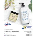 """Avery® Sure Feed Labels - Print to the Edge - Permanent Adhesive - 2"""" Width x 3"""" Length - Rectangle - Inkjet, Laser - Clear - Paper - 8 / Sheet - 80 / Pack"""