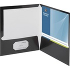 "Business Source Laminated Cover 2-pocket Portfolio - Letter - 8 1/2"" x 11"" Sheet Size - 100 Sheet Capacity - 2 Internal Pocket(s) - Black - 25 / Box"