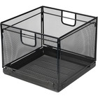 """Lorell Black Mesh/Wire Letter Filing Tub - External Dimensions: 16.1"""" Width x 15.4"""" Depth x 12.1"""" Height - Steel - Black - For File - 1 Each"""