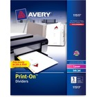 """Avery® Customizable Print-On(TM) Dividers, 5 Tabs, 25 Sets (11517) - Print-on Tab(s) - 5 - 5 Tab(s)/Set - 8.50"""" Divider Width x 11"""" Divider Length - 3 Hole Punched - White Paper Divider - Paper Tab(s) - 6"""