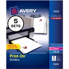 "Avery® Customizable Print-On Dividers - 5 Print-on Tab(s) - 5 Tab(s)/Set - 8.50"" Divider Width x 11"" Divider Length - 3 Hole Punched - White Divider"
