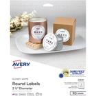 "Avery® True Print Labels - Print-to-the-Edge - Permanent Adhesive - 2 1/2"" Diameter - Round - Inkjet, Laser - White - 9 / Sheet - 90 / Pack"