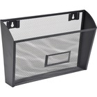 "Lorell Black Mesh Wire Wall Pocket - 6.6"" Height x 12.6"" Width x 4.8"" Depth - Wall Mountable - Black - 1 / Each"