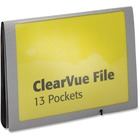 "Pendaflex 13-Pocket Clearvue Expanding Letter-Size Window File - Letter - 8 1/2"" x 11"" Sheet Size - 13 Pocket(s) - Poly - Silver - 1 Each"