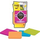 "Post-it® Super Sticky Full Adhesive Notes - 100 - 3"" x 3"" - Square - Electric Yellow, Neon Pink, Electric Blue, Limeade - Self-adhesive, Removable - 4 / Pack"