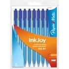 Paper Mate InkJoy 100 RT Pen - Medium Pen Point - Retractable - Blue - Transparent Barrel - 8 / Bag