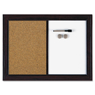 "Quartet Espresso Combination Dry Erase/Cork Board - 17"" (431.80 mm) Height x 23"" (584.20 mm) Width - Natural Cork Surface - Magnetic, Fade Resistant - 1 Each"