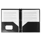 "Winnable Twin-Pocket Poly Portfolio w/Prong Fastener - Letter - 8 1/2"" x 11"" Sheet Size - 3 Fastener(s) - 2 Pocket(s) - Poly - Clear, Black"