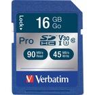 Verbatim 16GB Pro 600X SDHC Memory Card, UHS-I V30 U3 Class 10 - 90 MB/s Read - 45 MB/s Write - 600x Memory Speed - Lifetime Warranty