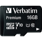 Verbatim 16GB Premium microSDHC Memory Card with Adapter, UHS-I V10 U1 Class 10 - 45 MB/s Read - Lifetime Warranty