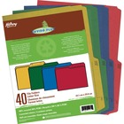 """Hilroy Enviro Plus colored File Folder - Letter - 8 1/2"""" x 11"""" Sheet Size - Red, Blue, Green, Yellow - Recycled - 40 / Pack"""
