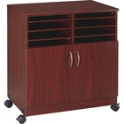 """Lorell 2-Door Mobile Machine Stand with Sorter - 30.75"""" (781.05 mm) Height x 28"""" (711.20 mm) Width x 19.25"""" (488.95 mm) Depth - Mahogany - Laminated Particleboard - Mahogany"""