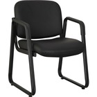 "Lorell Black Leather Guest Chair - Black Leather, Plywood Seat - Black Leather, Plywood Back - Metal Frame - Black - 26"" Width x 24.8"" Depth x 33.5"" Height - 1 Each"