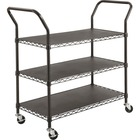 "Safco 3-shelf Wire Utility Cart - 272.16 kg Capacity - 4 Casters - 3"" (76.20 mm) Caster Size - Steel - x 43.8"" Width x 19.3"" Depth x 40.5"" Height - Steel Frame - Black - 1 Each"