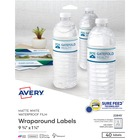 """Avery® Water-Resistant Wraparound Labels - Permanent Adhesive - 9 3/4"""" Width x 1 1/4"""" Length - Rectangle - Laser, Inkjet - White - 5 / Sheet - 40 / Pack"""
