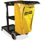"Genuine Joe Workhorse Janitor's Cart - x 40"" Width x 20.5"" Depth x 38"" Height - Charcoal, Yellow - 1 Each"