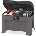 "Genuine Joe Storage Step Stool - 136.08 kg Load Capacity - 18.50"" (469.90 mm) x 12.50"" (317.50 mm) x 13.25"" (336.55 mm) - Black, Gray"