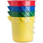 Genuine Joe 4-Pack 10 qt. Utility Buckets - 9.46 L - Heavy Duty, Durable, Pour Spout - Steel - Blue, Red, Yellow, Green - 4 / Carton