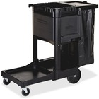 """Rubbermaid Commercial Executive Janitor Cleaning Cart - 3 Shelf - 8"""" (203.20 mm), 4"""" (101.60 mm) Caster Size - x 21.8"""" Width x 46"""" Depth x 38"""" Height - Black - 1 Each"""