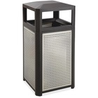 Safco Evos Series 15-gal Steel Waste Receptacle - 56.78 L Capacity - Plastic, Steel - Black, Gray