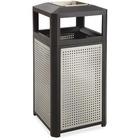 Safco Evos Ash Tray 15-gal Steel Waste Receptacle - 56.78 L Capacity - Plastic, Steel - Black, Gray