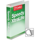 """Cardinal White Speedy XtraLife Slant-D Binder - 1 1/2"""" Binder Capacity - Letter - 8 1/2"""" x 11"""" Sheet Size - D-Ring Fastener(s) - 2 Pocket(s) - Polyolefin-covered Chipboard - Black - Recycled - Locking Ring, Non-stick, Clear Overlay, Split Resistant, Tear"""