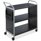 "Safco Scoot 3 Shelf Utility Cart - 3 Shelf - 2.50"" (63.50 mm) Caster Size - x 31"" Width x 18"" Depth x 38"" Height - Steel Frame - Black, Silver - 1 Each"