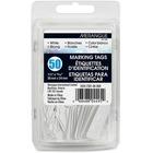 "Merangue 50 Pack White Strung Tags - 0.94"" (23.80 mm) Length x 1.50"" (38.10 mm) Width - Rectangular - String Fastener - 50 / Pack - White"