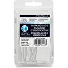 "Merangue 50 Pack White Strung Tags - 1.09"" (27.60 mm) Length x 1.75"" (44.40 mm) Width - Rectangular - String Fastener - 50 / Pack - White"