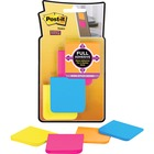 """Post-it® Super Sticky Full Adhesive Note - 50 x Electric Blue, 50 x Limeade, 50 x Neon Pink, 50 x Electric Yellow - 2"""" x 2"""" - Square - Electric Blue, Limeade, Neon Pink, Electric Yellow - Removable - 8 / Pack"""