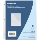 "Winnable Clear Slant Binder Pockets - 50 x Sheet Capacity - For Letter 8 1/2"" x 11"" Sheet - 3 x Holes - Ring Binder - Slanted - Clear - 5 / Pack"