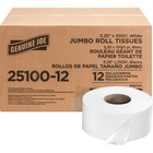 "Genuine Joe 2-ply Jumbo Roll Dispnsr Bath Tissue - 2 Ply - 3.3"" x 1000 ft - 9"" (228.60 mm) Roll Diameter - White - Nonperforated, Unscented - 12 / Carton"